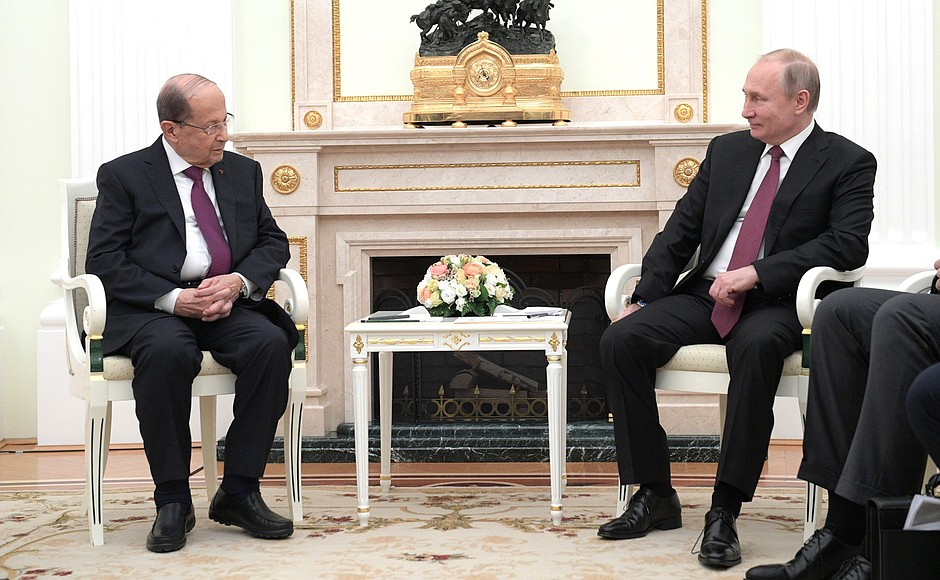 Vladimir Putin Talks with President Michel Aoun