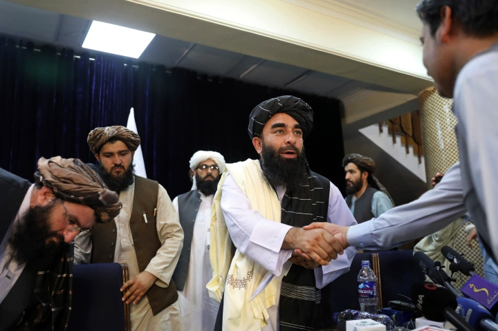 Taliban's first news conference in Kabul